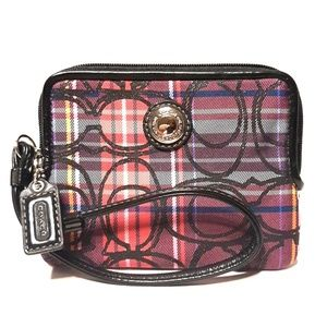 New COACH SIS Tartan Zippy Wallet Wristlet Rare